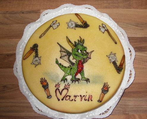 Torte mit Marzipandecke und Airbrushbild