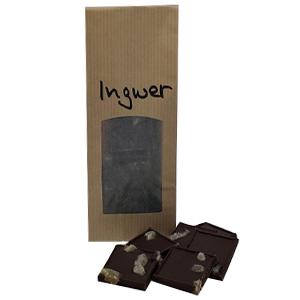 Zartbitter-Schokolade mit würzigen , kandierten Ingwerstückchen